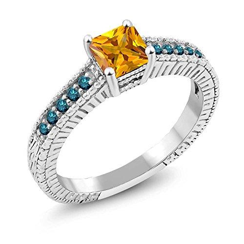 0.77 Ct Princess Yellow Citrine Blue Diamond 925 Sterling Silver Ring (Diamond Ct Emerald 0.77 Cut)