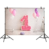 Allenjoy 7x5ft photography backdrops Girls 1st Birthday pink balloons flowers cake party banner baby shower photo studio booth background photocall