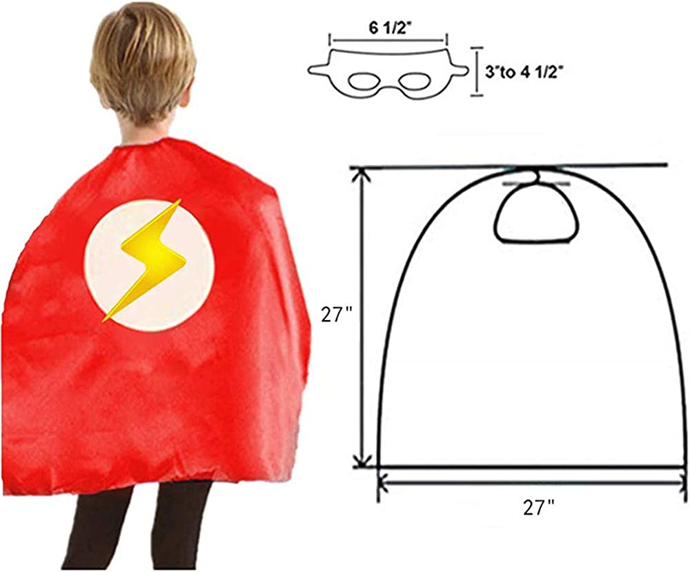 HERO WOW Superhero Capes for Kids Double Sided Satin Capes and Masks for Dress Up Costumes