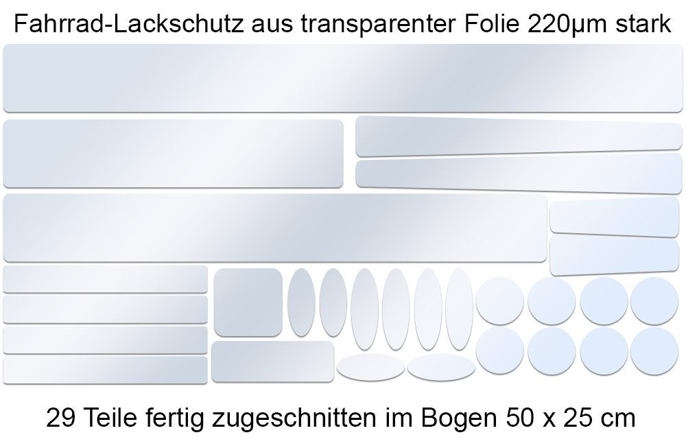 Steinschlagschutz transparente Lackschutz Folien Set mit 29 Teile 160/µm Fahrrad Bike BMX
