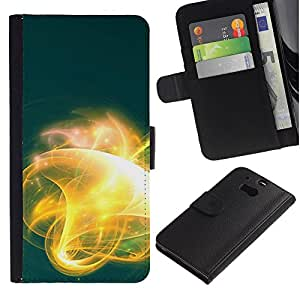 KingStore / Leather Etui en cuir / HTC One M8 / Resplandor abstracto amarillo