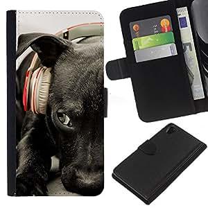 EJOY---La carpeta del tirón la caja de cuero de alta calidad de la PU Caso protector / Sony Xperia Z2 D6502 / --Negro Labrador Retriever perro Auriculares