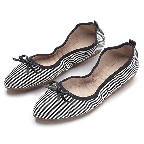 VogueZone009 Damen PU Leder Ziehen auf Spitz Zehe Niedriger Absatz Flache Schuhe Weiß
