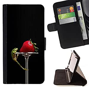 Jordan Colourful Shop - Funny Tasty Strawberry & Lizzard For Sony Xperia Z3 D6603 - Leather Case Absorci???¡¯???€????€???????&bdq