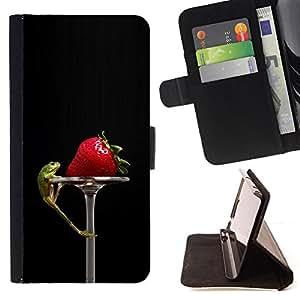 - Funny Tasty Strawberry & Lizzard - - Monedero PU titular de la tarjeta de cr????dito de cuero cubierta de la caja de la bolsa FOR LG G3 RetroCandy