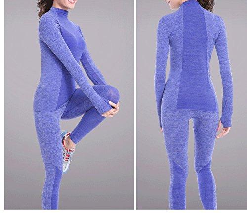Las mujeres Qutool camiseta entrenamiento ocio camiseta deportiva Yoga camiseta manga larga tapas Azul - azul