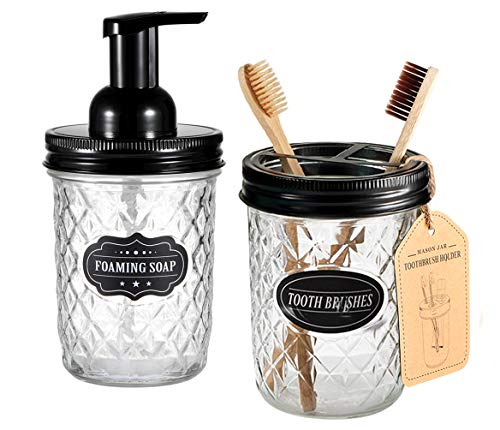 Mason Jar Bathroom Accessories Set - Includes Mason Jar Foaming Hand Soap Dispenser and Toothbrush Holder - Rustic Farmhouse Decor Apothecary Jars Bathroom Countertop and Vanity Organizer (Black) - ✅ STYLISH STORAGE: Creat depth, texture and a beautiful space by using the mason jar soap dispenser and toothbrush holder.It's a cute shabby chic home accessories set you can get!Ideal modern farmhouse decor! ✅ FOAMING HAND SOAP DISPENSER PUMP - Our foaming hand soap dispenser creates luxurious foaming soap with a simple push.DIY the foaming soap by mixing 4 parts water and 1 parts regular soap if you like.Eco-friendly for the environment as well as your household budget ✅ DECORATIVE TOOTHBRUSH HOLDER - The toothbrush holder fits most sizes of toothbrushes, toothpaste tubes, flossers, razors and more - bathroom-accessory-sets, bathroom-accessories, bathroom - 51xOjutUfOL -