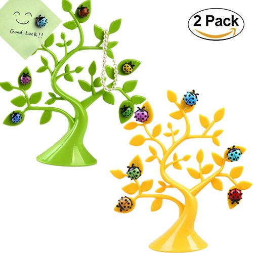 Magnetic Memo Clip - Wellood Creative Adorable Tree Shape Ladybug Magnet Tabletop Memo Note Clip Holder Display for Cards/Notes/Photos/Pictures/Placecards(2 pack)