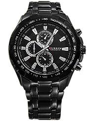 CURREN Mens Stainless Steel Wrist Watch (Black Strap&Black Dial&Silver pointer)