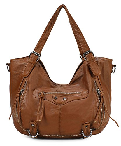 Scarleton Chic Soft Washed Front Zipper Pocket Shoulder Bag H1805