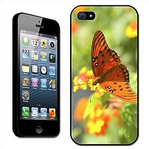Fancy A Snuggle - Carcasa rígida para iPhone 5, diseño de mariposa, color naranja