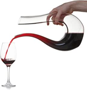 1.5L KitchenCraft BarCraft Handmade Tempered Glass Wine Decanter, U Shape Classic Wine Aerator, Red Wine Carafe, Wine Gifts, Wine Accessorie - Best for Catering, Parties, Birthday or Home Use