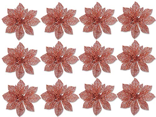 Poinsettia Ornaments - Pack of 12 Glitter Poinsettia Flowers with Metal Clip - Holiday Decorations - Artificial Poinsettia (Christmas Tree Ornament Holiday Decoration)
