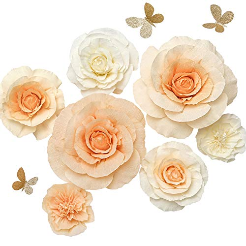 Pastel Nursery - Ling's moment Paper Flower Decorations, Handmade Large Crepe Paper Flowers Set of 7, Rose & Peony & Butterfly Assorted for Wall Nursery Wedding Baby Shower Birthday Centerpiece(Pastel Peach+Ivory)