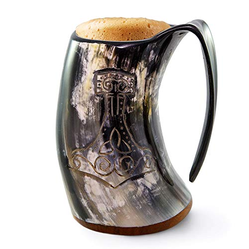 - Norse Tradesman Genuine Viking Drinking Horn Mug - 100% Authentic Beer Horn Tankard w/Thor's Hammer Engraving |