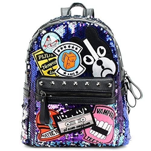 Women Pink Gillter Backpack Purse Girl Reversible Black Leather Embroidered School Bag Blue rivet 1 24x13x31cm