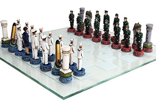 US Army vs Navy Military Chess Set Hand Painted with Glass Board (For Sale Chess Pieces Glass)