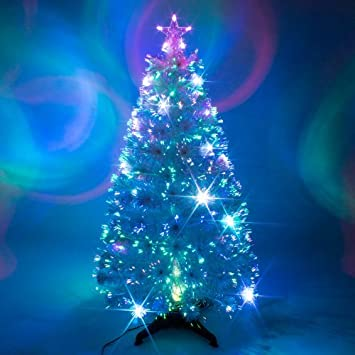 3ft White Artificial Fibre Optic Christmas Xmas Tree with Multi ...