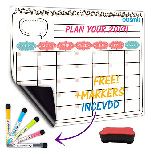 OASMU Dry Erase Monthly Calendar Set-Large Magnetic White Board & Grocery List Organizer For Kitchen Refrigerator To-do list for smart Family Planners To-Do List Free Markers 17
