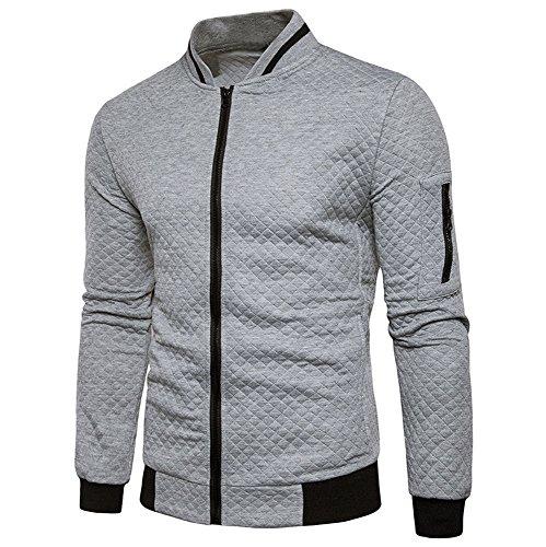 GOVOW Zipper Hoodies for Men Long Sleeve Plaid Cardigan Sweatshirt Tops Jacket Coat Outwear(M,Gray)