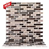 "backsplash for kitchen  - 12"" x 12"" Premium Anti Mold Peel and Stick Wall Tile in Como Crema (10 Tiles)"