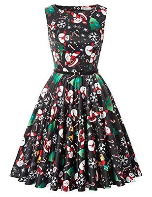 GRACE KARIN Women's Sleeveless Christmas A-line Party Dress with Belt