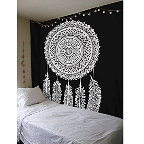 KingSo 82x57 Inches Black and White Hippie Cotton Tapestry Bohemian Mandala Tapestry Beach Coverlet Curtain Wall Hanging Tapestry Home Dorm Decor