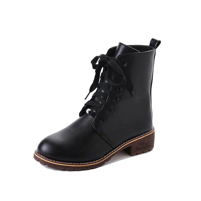 Zapatillas para Mujer by BaZhaHei, Botines de Cuero con Punta Redonda y Estilo clásico para Mujer Botines con Cordones Planos con Cordones Boots del Señoras ...