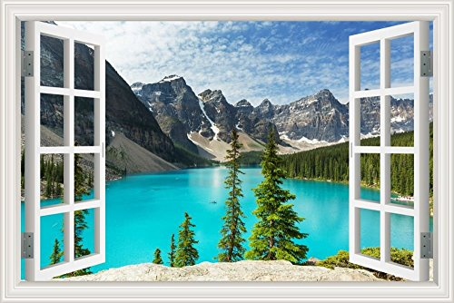 GreatHomeArt Peel and Stick 3D Wall Decal Sticker Nuature Lake and Mountain Scenery Window View Home Décor Art Removable Wall Murals for Living Room - 32x48 inches
