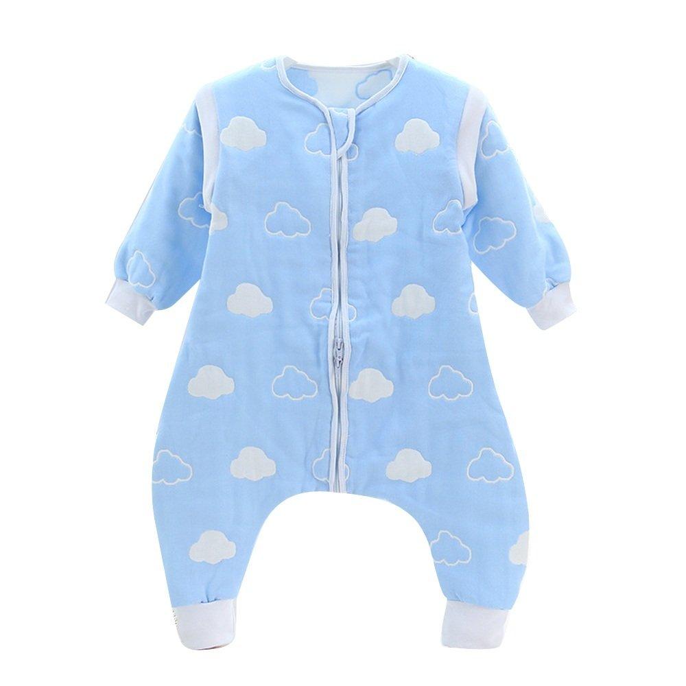 DaiShuGuaiGuai Baby Ganzjahres Schlafsack mit Füßen (Blau) (Wolke) (L 80-90CM) DSGG-6C-BC
