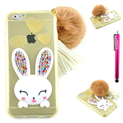 iPhone 6S/iPhone 6 Case, Firefish Soft Slim Gel Clear Crystal Drop Absorption Case Anti-Slip Protective Skin with Handy Wrist Strap & Hairball for Girls Women (How Do You Become A Disney Princess)
