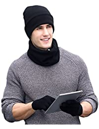 Winter Warm Beanie Hat + Scarf + Touch Screen Gloves , Unisex 3 Pieces Cap Set for Men Women