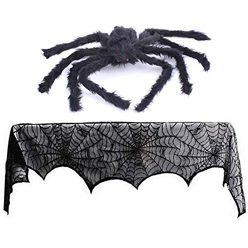 Fireplace Mantle Scarf Black Spiderweb Cover Decorations Halloween Lace Porch Decor 18