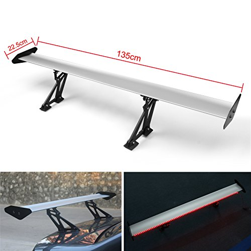 Areyourshop Universal Sedan Aluminum GT Rear Trunk Wing Racing Spoiler With Red Light Silver
