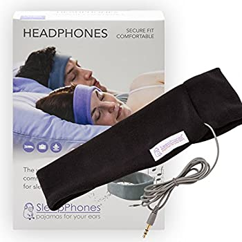 SleepPhones Classic Headphones | Ultra Thin Speakers in Lightweight & Comfortable Headband | 4 Foot Braided Cable Connects to Audio Devices | Midnight Black - Fleece Fabric