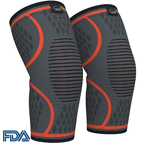 (Modvel Compression Knee Sleeve (1 Pair) - Ultra Flexible, Comfortable Knee Brace for Men and Women, Great for All Athletics, Volleyball, ACL, Stabilizer for Arthritis and Knee Pain Relief, M (MV-111))