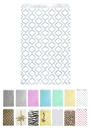 Novel Box® Silver Trelis Print Paper Gift Candy Jewelry Merchandise Bag Bundle 4X6