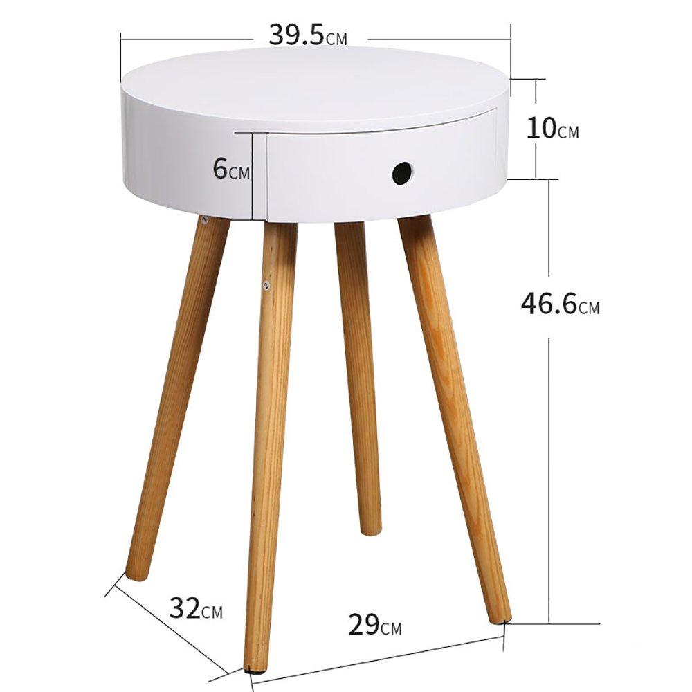 Amazon.de: Limiz Weiß Holz Side End Tisch Nachttisch mit Schublade ...