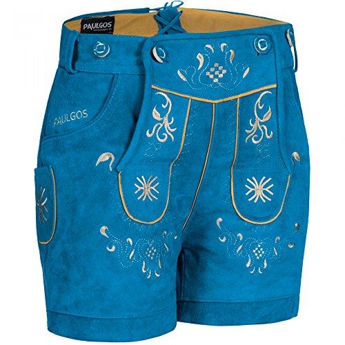 PAULGOS Damen Trachten Lederhose + Träger Echtes Leder Kurz Blau M3, Größe Lederhose:40