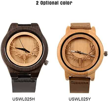 Retro Stylish Neutral Bamboo Wooden Wrist Watch With Ckeyin Cowhide Strap Deer Head Design Quartz Movement Casual Watch