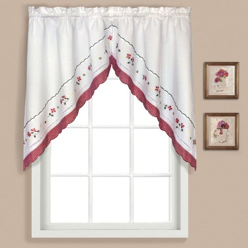 Curtain Panels Red Gingham (United Curtain Gingham Embroidered Swags, 60 by 38-Inch, Red, Set of 2)