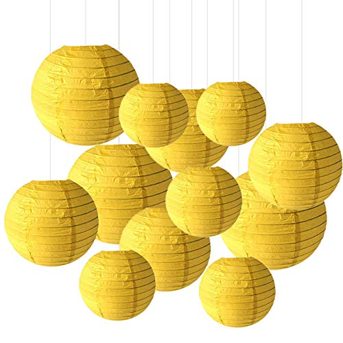 12PCS Paper Lanterns with Assorted Colors and Sizes Paper Lanterns Decorative,Chinese/Japanese Paper Hanging Decorations Ball Lanterns Lamps for Home Decor, Parties, and Weddings (Yellow) -