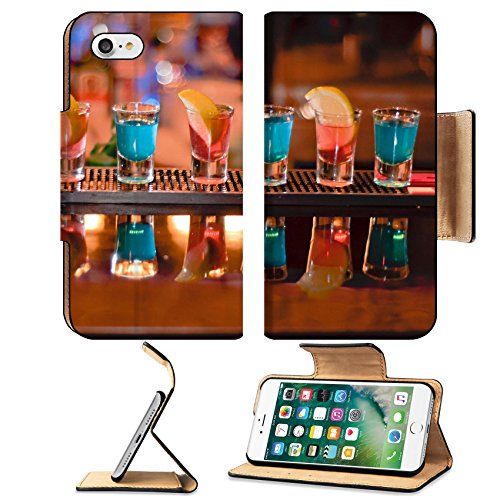 Luxlady Premium Apple iPhone 7 Flip Pu Leather Wallet Case IMAGE ID 7989476 Row of shots on the bar tequila and blue curacao