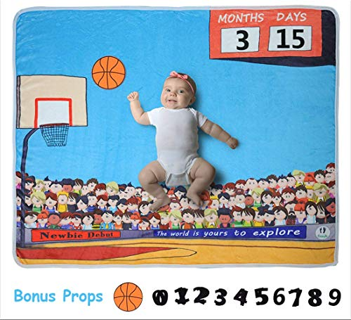 Baby Monthly Milestone Blanket with Unique Basketball Design by EASIFE, Soft Thick Fleece Photography Background for Newborns with Bonus Photo Props (Mom Ultrasoft Baby Onesie)