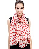 Lina & Lily Loving Hearts Print Large Scarf Mother's Day Gift (Beige and Red)