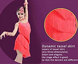 iFANS Girl\'s BlingBling Diamond Tassel Dancing Latin Rumba Salsa Dress for Show Competition