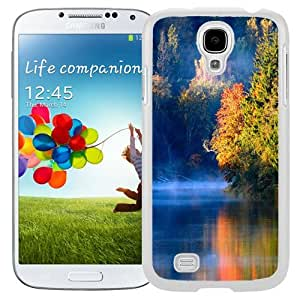 Unique and Fashionable Cell Phone Case Design with Latvia Autumn Landscape Morning Forest River Fog Galaxy S4 Wallpaper in White