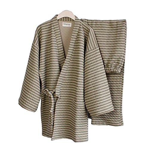 (FANCY PUMPKIN Men's Warm Winter Kimono Pajamas Suit Thicker Japanese Style Robes-[Size L Green])