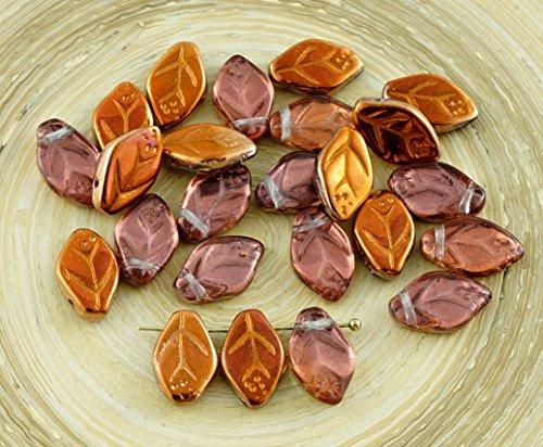 30pcs Crystal Metallic Sunset Bronze Half Czech Glass Carved Leaf Flower Beads 7mm x 12mm -