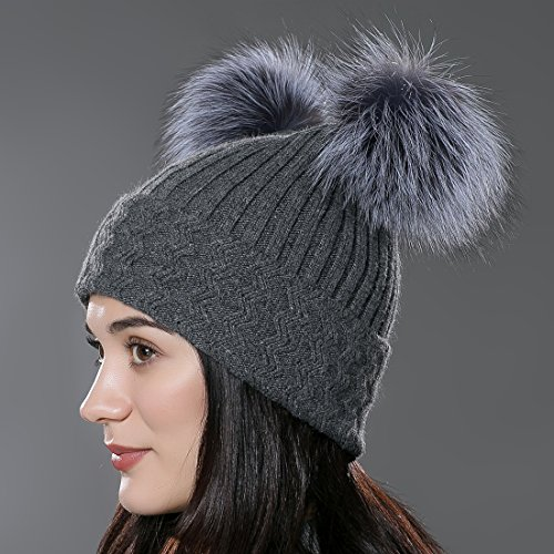 URSFUR Unisex Autumn Knit Wool Beanie Hat Women Winter Hat with Fur Ball Pom Pom